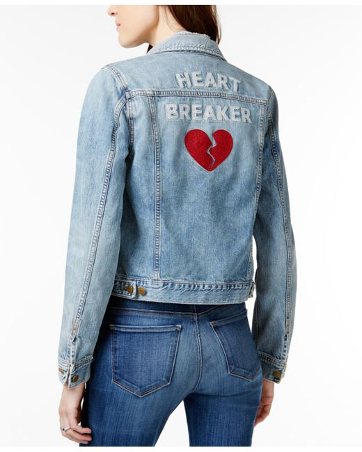 Lucky Brand Heart Breaker Graphic Lima Wash Denim Jacket