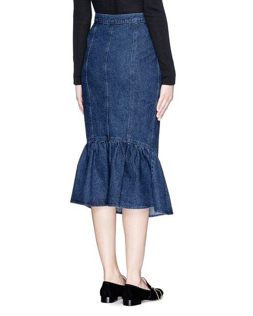 comey range flare fishtail hem denim skirt in