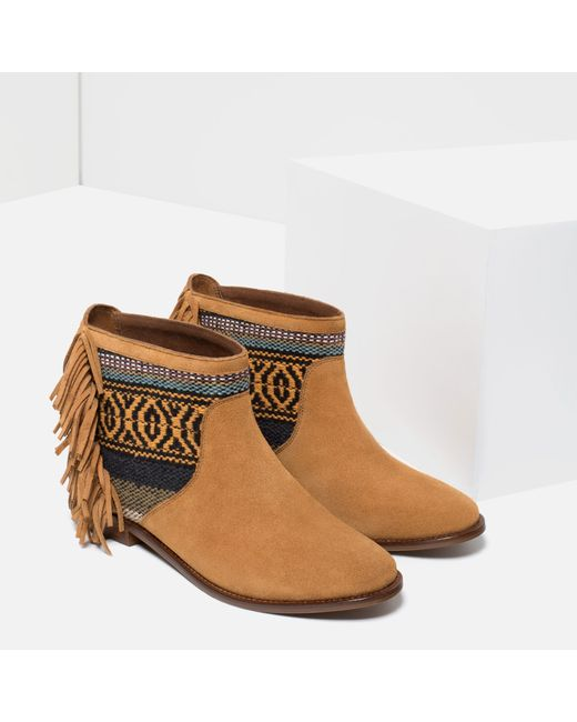 zara fringed leather ankle boots in multicolor save 70