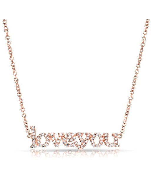 Anne Sisteron | Metallic 14kt Rose Gold Diamond Love You Necklace | Lyst
