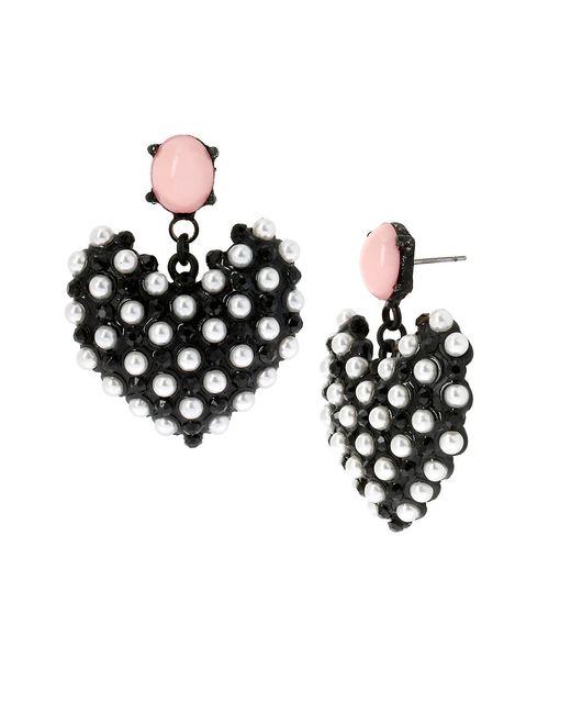 Betsey Johnson | Black Monochrome Faux Pearl Heart Drop Earrings | Lyst