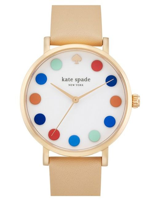 Kate Spade | Multicolor 'metro' Dot Dial Leather Strap Watch | Lyst