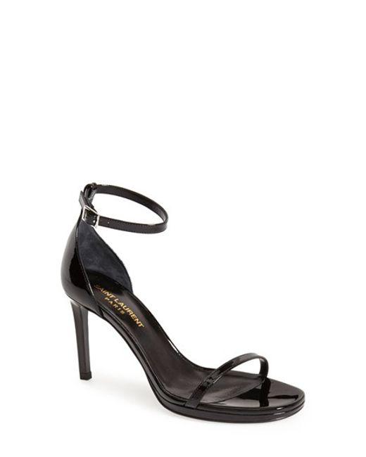 Saint Laurent | Black 'jane' Ankle Strap Sandal | Lyst