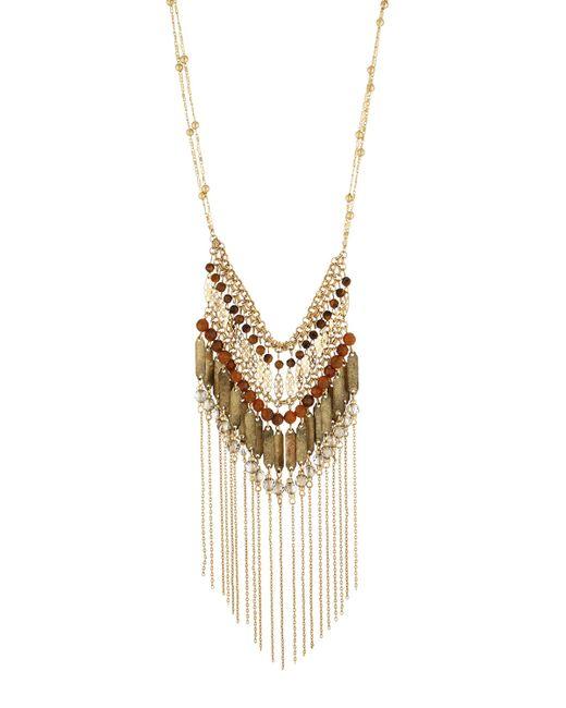 Lydell NYC | Metallic Golden Tassel Beaded Bib Necklace | Lyst