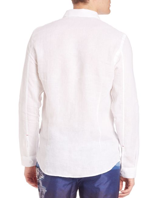 Orlebar brown solid button down shirt in white for men lyst for White shirt brown buttons