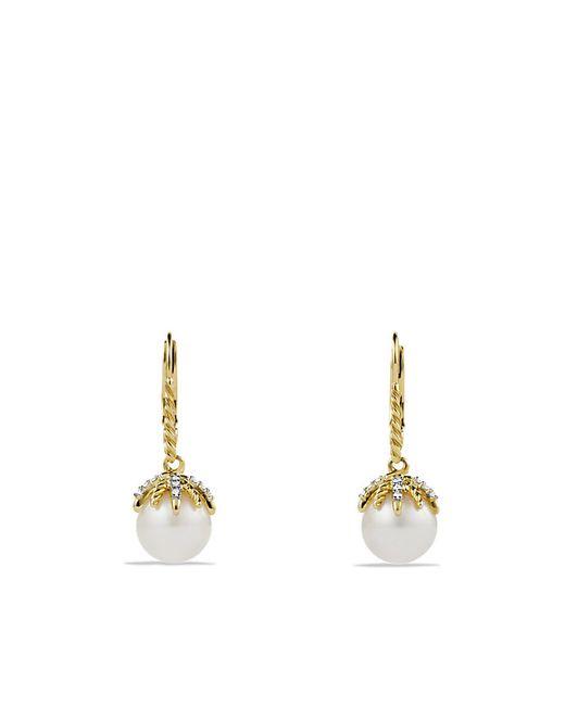 David Yurman   Metallic Starburst Drop Earrings With Pearls And Diamonds In 18k Gold   Lyst