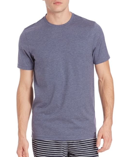 Michael kors cotton silk blend crewneck tee in blue for for Cotton silk tee shirts
