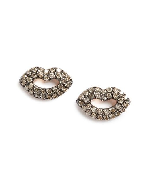 Kismet by Milka | Pink 'mini' Encrusted Lips Stud Earrings | Lyst