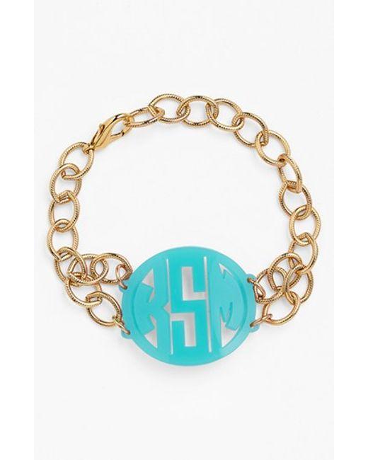 Moon & Lola | Metallic 'annabel' Medium Personalized Monogram Bracelet | Lyst