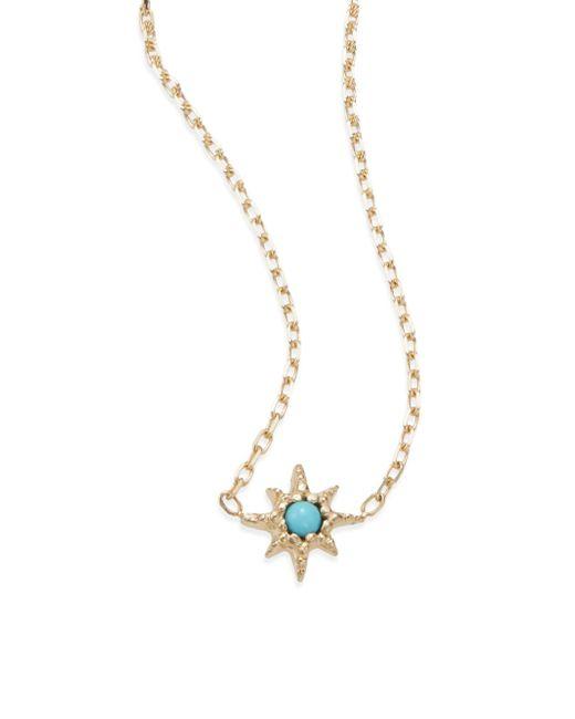 Anzie   Metallic Turquoise & 14k Yellow Gold Pendant Necklace   Lyst