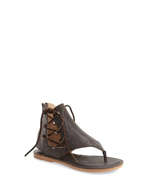 Baske California Nomad Sandal In Brown Black Leather