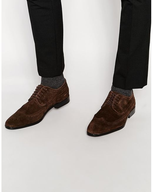 asos longwing brogue shoes in brown suede in brown for