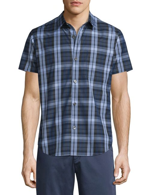 Theory Rammis Short Sleeve Plaid Shirt In Blue For Men Lyst