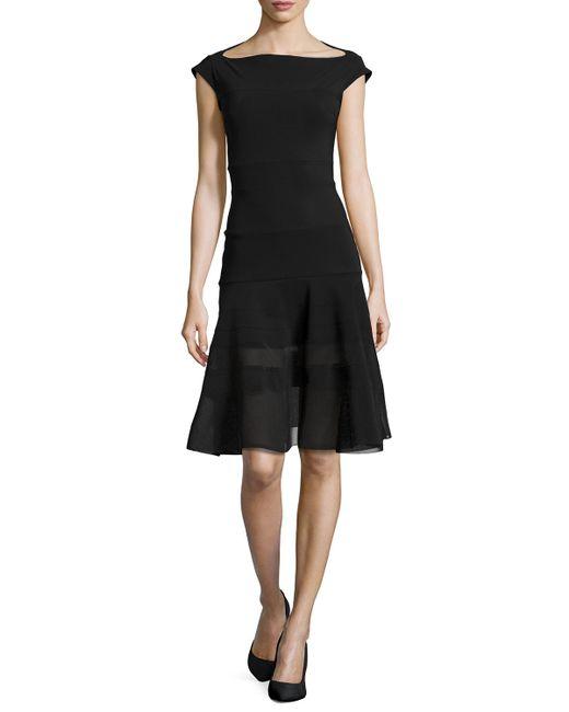 La Petite Robe Di Chiara Boni | Black Orlanda Cap-sleeve Illusion Dress | Lyst