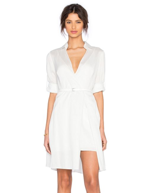halston heritage shirt dress in white save 35 lyst