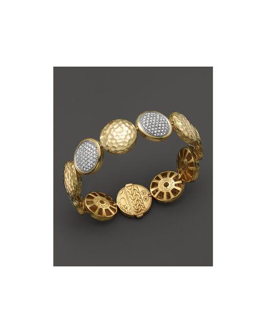 John Hardy | Metallic Palu 18k Gold Diamond Pave Five Disc Station Bracelet | Lyst