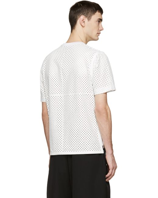 givenchy white perforated leather t shirt in white for men lyst. Black Bedroom Furniture Sets. Home Design Ideas