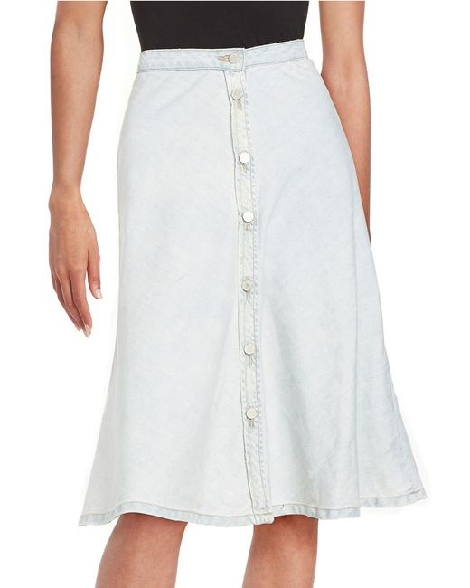 blank nyc button front denim skirt in blue bobble