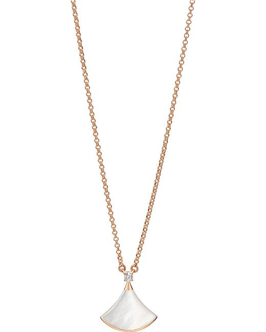 BVLGARI | Metallic Diva 18ct Pink-gold With Mother Of Pearl And Pavé Diamonds Necklace | Lyst