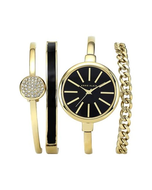 anne klein round watch bangle set in gold gold black lyst