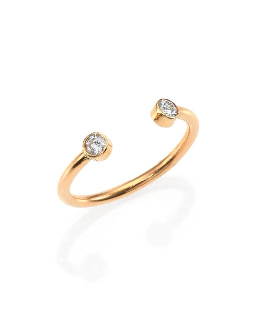 Zoe Chicco | Metallic Diamond & 14k Yellow Gold Two-bezel Open Ring | Lyst