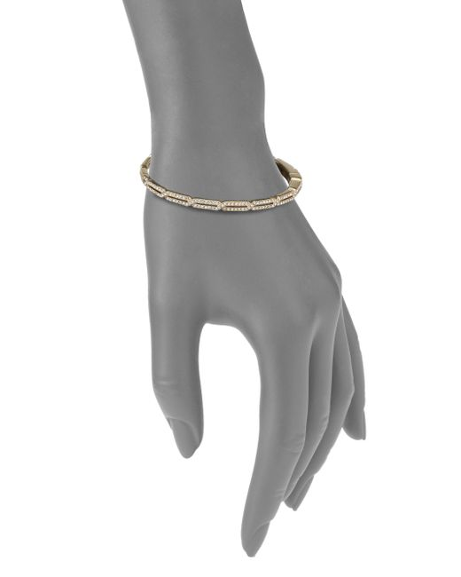 Adriana Orsini | Metallic Pave Crystal Long Hexagon Bangle Bracelet/goldtone | Lyst