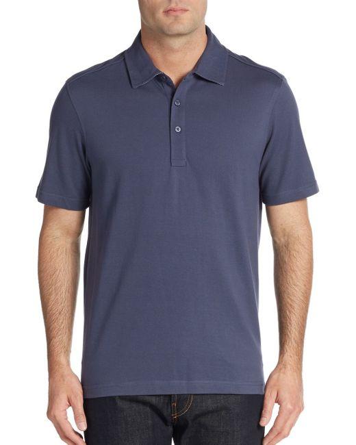 Saks Fifth Avenue | Blue Cotton Pique Polo Shirt for Men | Lyst