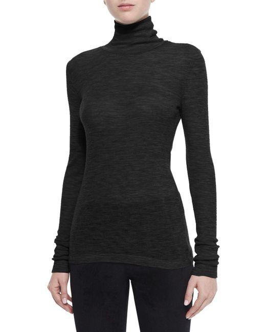 T By Alexander Wang | Black Sheer Roll-Neck Sweater | Lyst