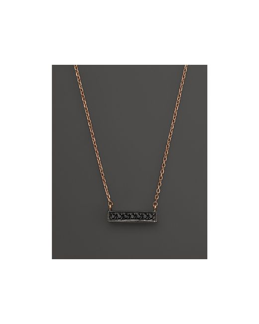 Dana Rebecca | Pink Black Diamond Sylvie Rose Mini Bar Necklace In 14k Rose Gold And Black Rhodium, 16"