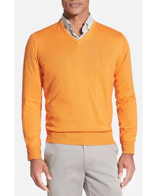 Robert Talbott   Orange Classic Fit V-neck Sweater for Men   Lyst