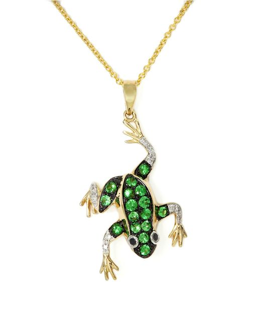 Effy | Green Citrus Emerald Sapphire And Diamond Drop Frog Pendant In 14k Yellow Gold | Lyst