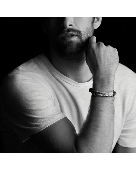 David Yurman | Waves Id Bracelet In Black Leather With 18k Gold for Men | Lyst