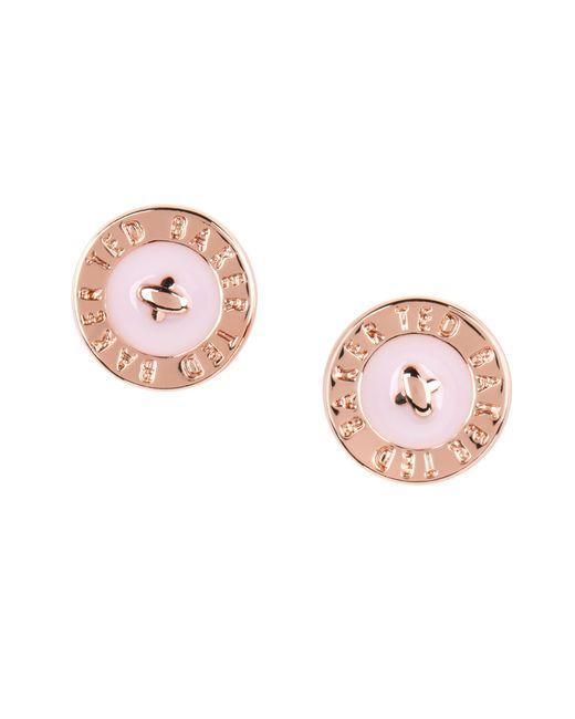 Ted Baker | Pink Enamel Button Earring | Lyst
