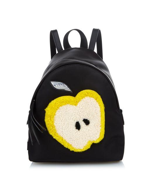Fendi Apple Shearling And Nylon Mini Backpack In Black Lyst