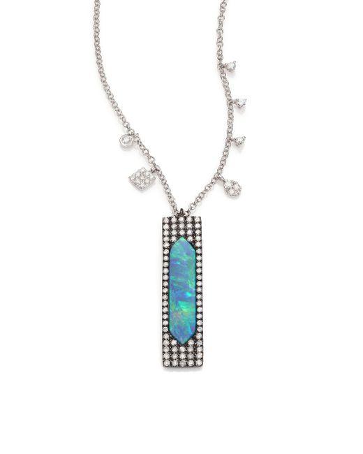 Meira T | Blue Boulder Opal, Diamond, & 14k White Gold Pendant Necklace | Lyst