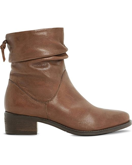 dune pager ruched leather ankle boots in brown