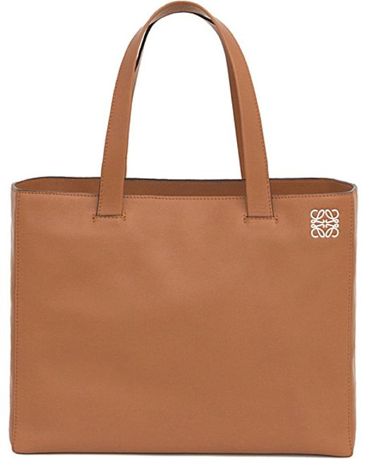 Loewe | Brown East West Leather Shopper Bag - For Women | Lyst