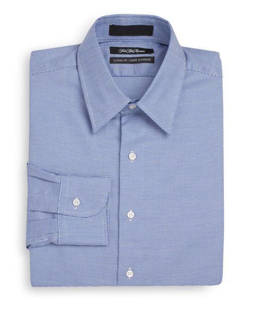 Saks fifth avenue classic fit herringbone cotton dress for White herringbone dress shirt