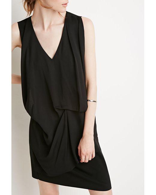 Forever 21 | Black Drapey Shift Dress | Lyst