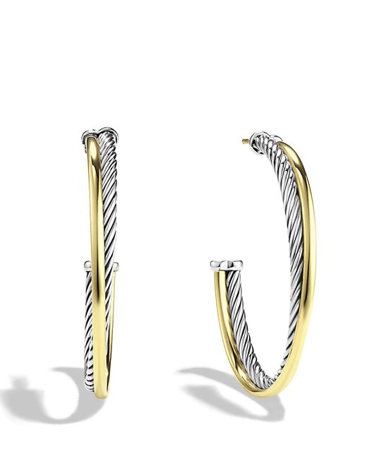 David Yurman | Metallic Crossover Extra-large Hoop Earrings With Gold | Lyst