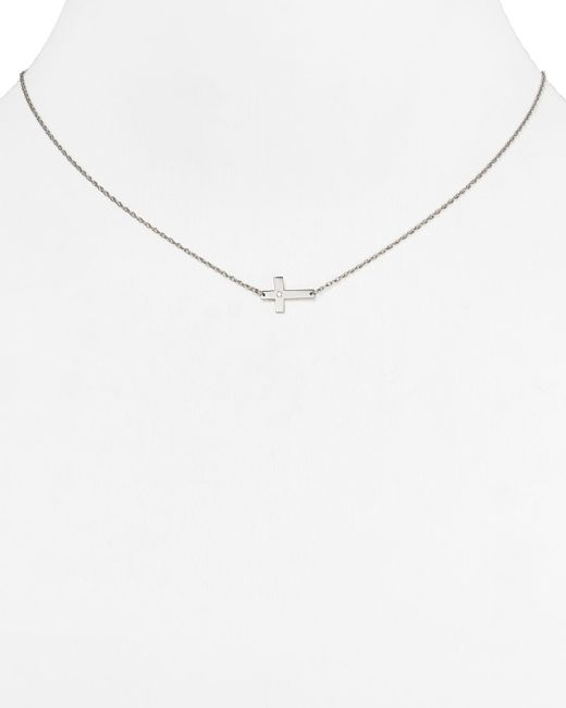 Jennifer Zeuner | Metallic Theresa Mini Diamond Cross Necklace, 16"