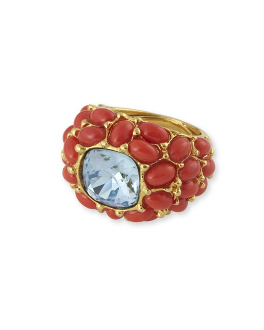 Kenneth Jay Lane | Red Coral And Aquamarine Ring | Lyst