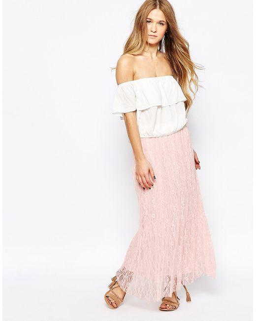 vero moda glitter thread pleated maxi skirt in pink pearl