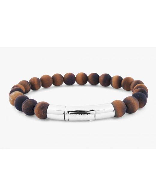 Tateossian | Semi-precious Brown Tiger Eye Stone Beaded Bracelet for Men | Lyst