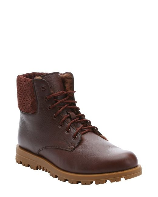 gucci brown leather and suede lace up boots in brown for