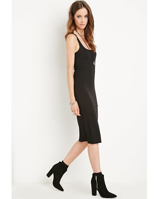 Forever 21 | Black Scoop Neck Bodycon Dress | Lyst
