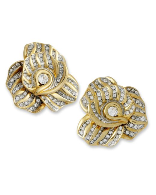 Kenneth Jay Lane | Metallic Crystal Flower Clip Earring | Lyst