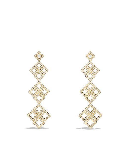 David Yurman   Metallic Venetian Quatrefoil Triple-drop Earrings With Diamonds In 18k Gold   Lyst