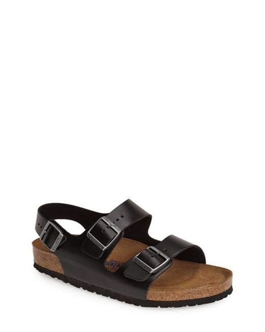 Birkenstock | Black 'milano' Soft Footbed Sandal for Men | Lyst