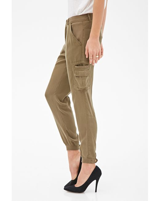New Forever 21 Wide Leg Cargo Pants In Green  Lyst